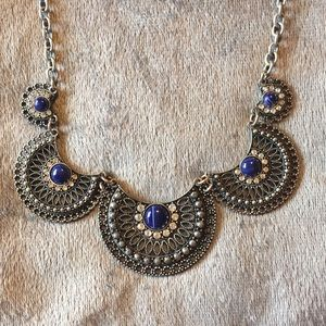 Silver & Blue Statement Necklace